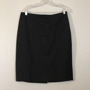 J. Crew Black No. 2 Pencil Career Wool Skirt 10